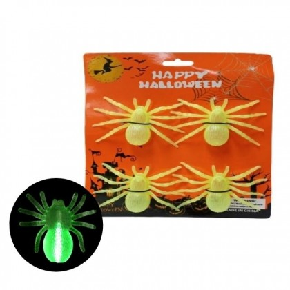 4pcs Halloween Scary Spider Deco Glow In The Dark