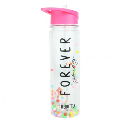 Lifebottle Drinking Bottle (700ml) with Flip-Up Straw, Positive Quotes & Colorful Poms Poms
