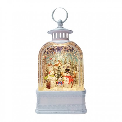 X'mas Deco With Light - Lantern With Snowman Christmas Gift Ornament Decorations