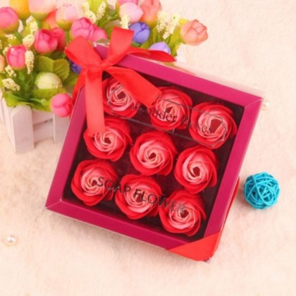 S&J Co. Soap Flower 9-Roses Scented Bouquet with Square Mini Gift Box