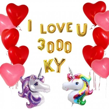 Balloon Romantic 3inch I LOVE YOU 3000 Unicorn with 10pcs Balloons Set