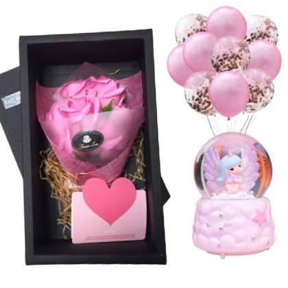 You are My Angel with Crystal Globe and Roses Soap Flowers Gift Box 10pcs Balloons Set