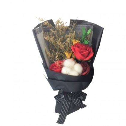 S&J Co. Soap Flower 3-Roses with Cotton Black Bouquet with Luxury Gift Box