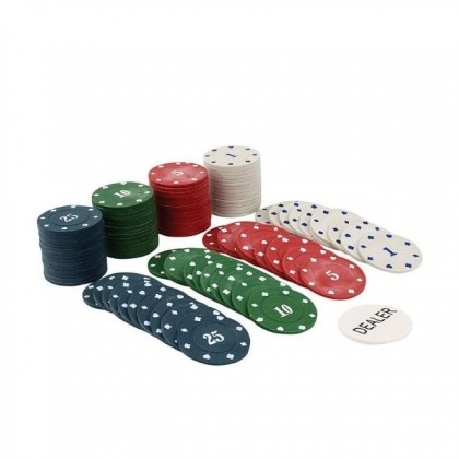 Tin Case Poker Chips Set with 100 Chips with Dealer Button