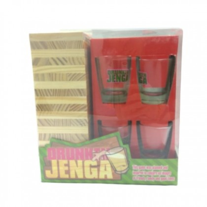 Drunken Jenga With Wooden Stacking Blocks 4 Shot Glasses for Adults Party Playing Games