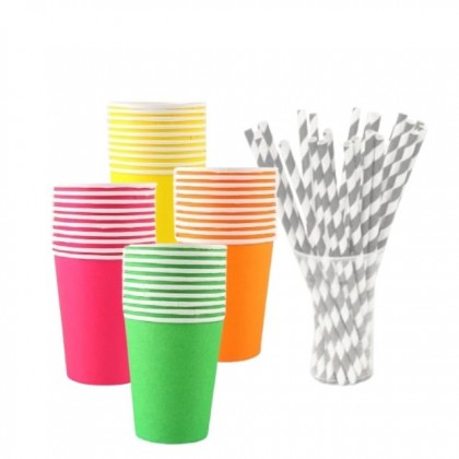 RAYA SALE: Raya Festive 40pcs Paper Cups and Straws Set Bundle Deal