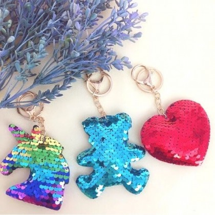 Blinking Sequin Keychain Key Ring Cute Pendant Party Gift Keychain