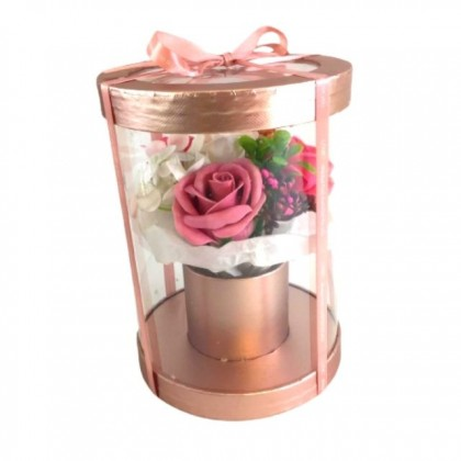 S&J Co. Soap Flower 4-Roses Scented Bouquet with Round Transparent Gift Box