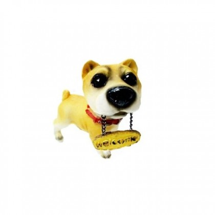 Cute Loyal Hachiko Dog With Welcome Sign Resin Figurine