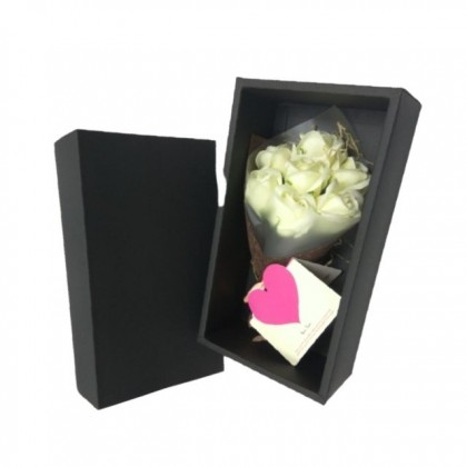 S&J Co. Soap Flower 7-Roses Scented Bouquet with Luxury Gift Box