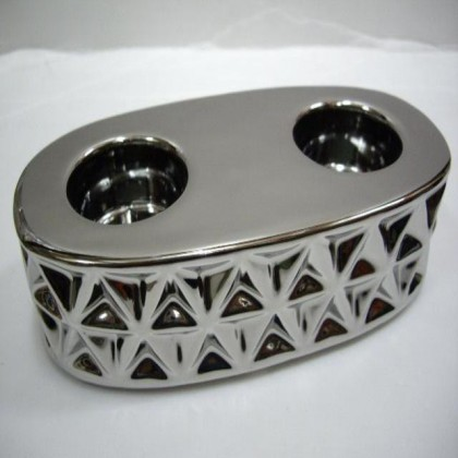 Ceramic Chrome Candle Holder Double Round Home / Office Desk / Decoration